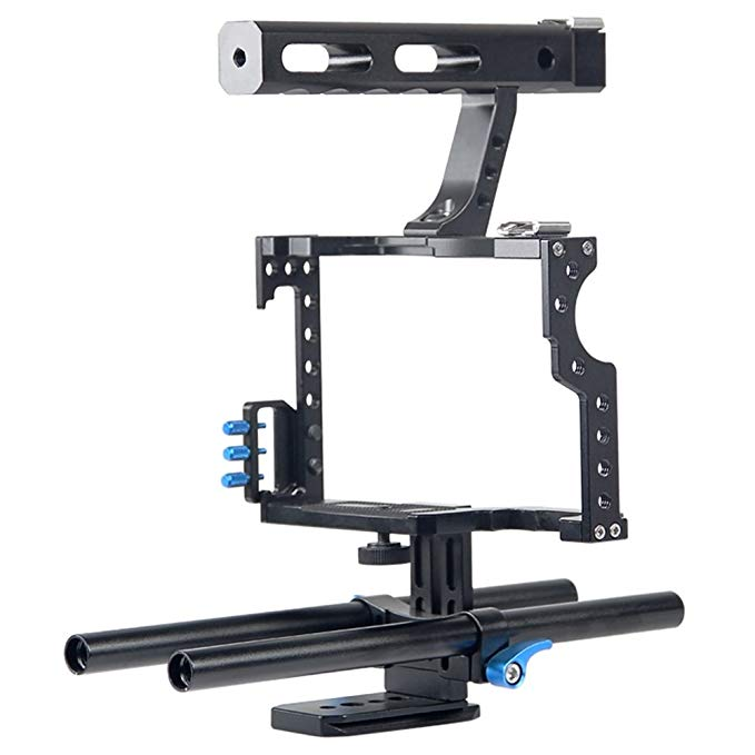 Fomito Aluminum Handle Grip DSLR Video Stabilizer Film Movie Making Camera Cage with Rod System Rig