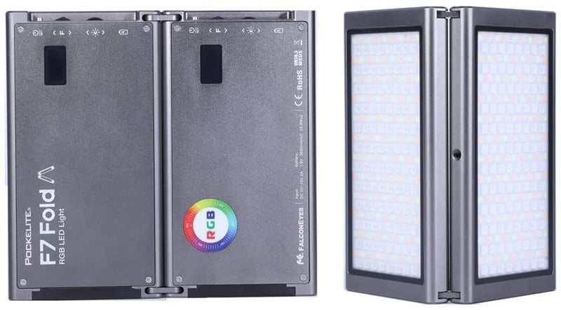 Falcon Eyes F7 Fold 24W 2500K-9000K Full color Folding RGB LED Pocekt Light APP Control with Grid