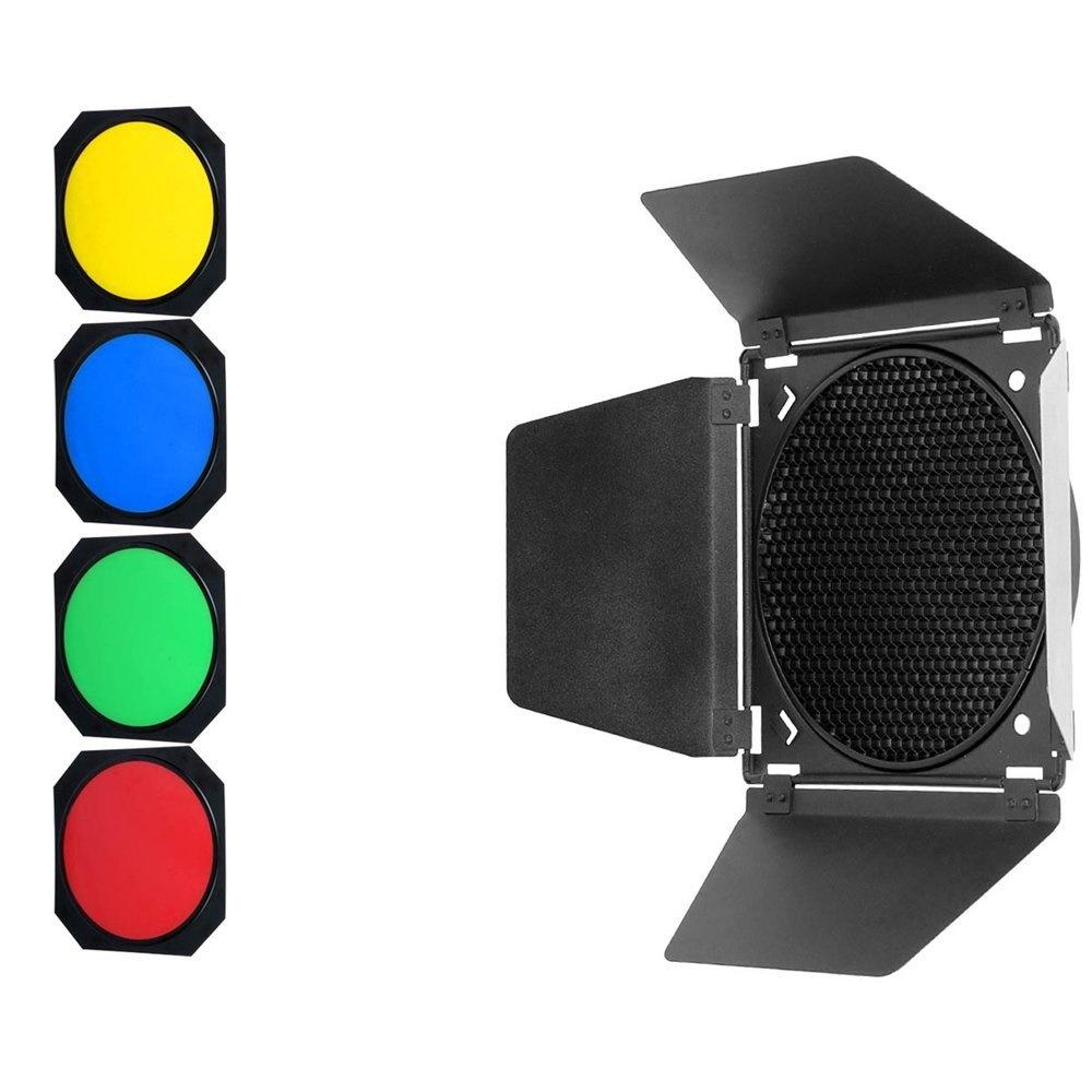 Godox BD-04 Barn Door with Honeycomb Grid and 4 Color Gel Filters - FOMITO.SHOP