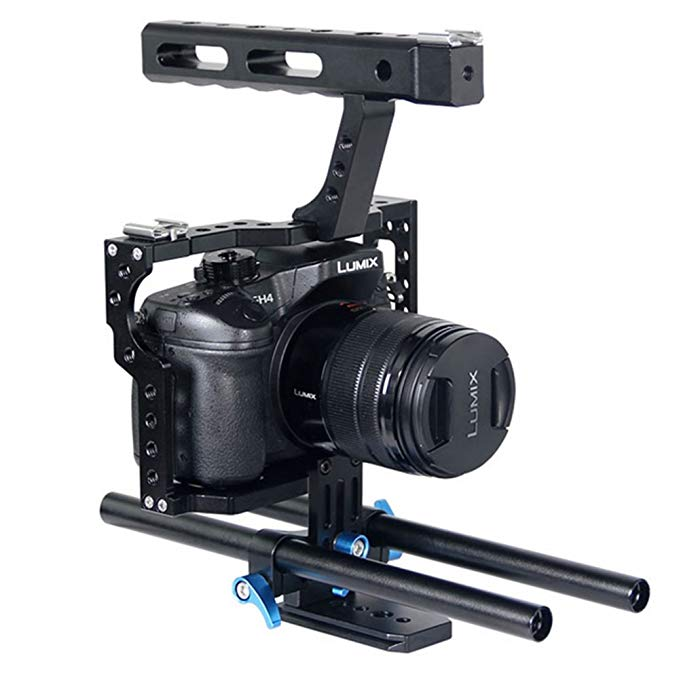 Fomito Aluminum Handle Grip DSLR Video Stabilizer Film Movie Making Camera Cage with 15mm Rod System Rig for Sony A7 Camera A7/A7II/A7s/A7r/A7Rii ,Panasonic GH4