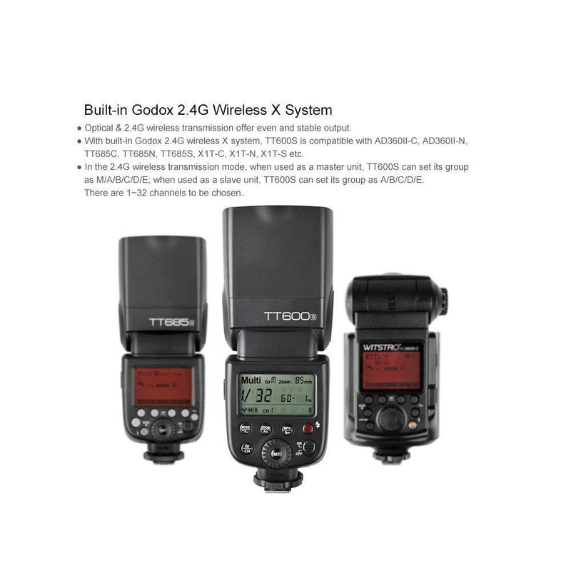 Godox TT600S Camera Flash Built-In 2.4G Wireless X System 1/8000s GN60 - FOMITO.SHOP