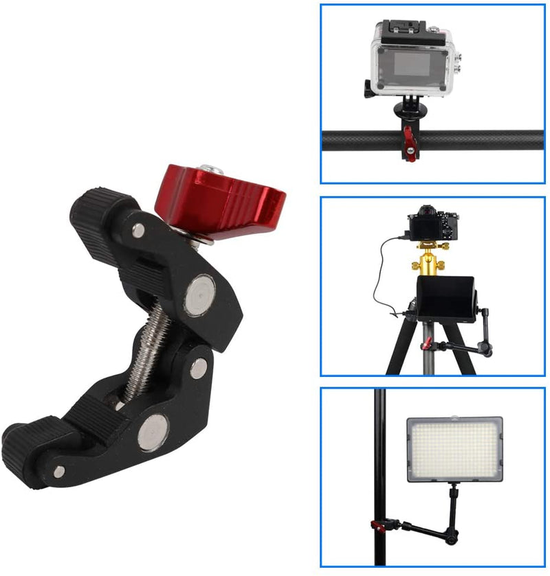 Fomito Super Camera Crab Clamp Mount X1 with 1/4 to 1/4 inch and 1/4 to 3/8 inch Screw Converter