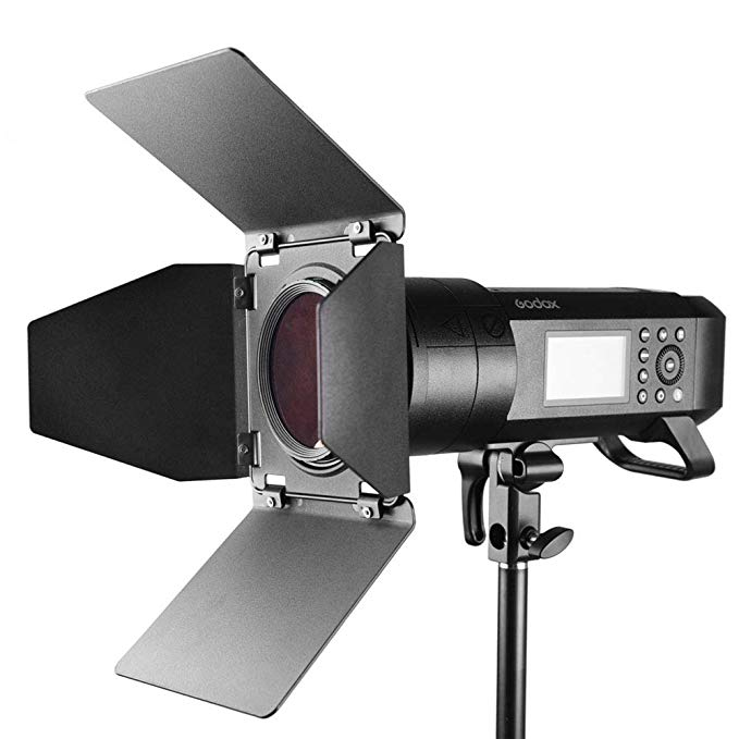Godox BD-08 Barn Door Kit Include Honeycomb Grid and 4 Color Gels Filters Compatible with AD400Pro