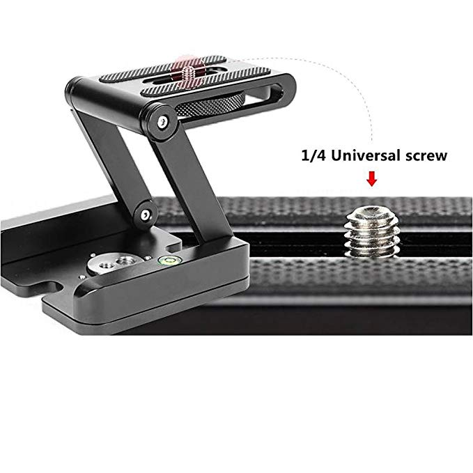 "Fomito Aluminum Universal Z Type Foldable Tripod Head with Quick Release with 1/4"" and 3/8"" Thread"