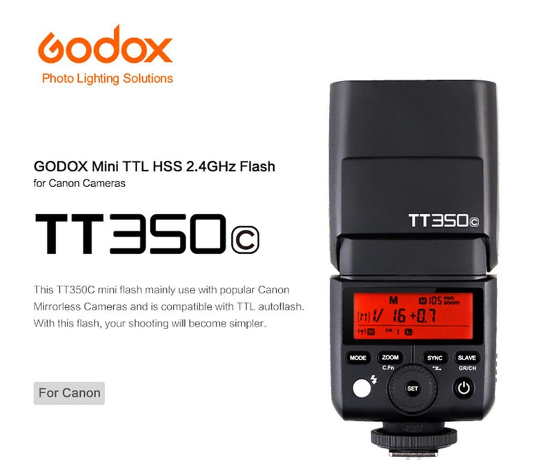 GODOX TT350C TTL HSS 2.4G Wireless X System Flash for Canon Cameras - FOMITO.SHOP