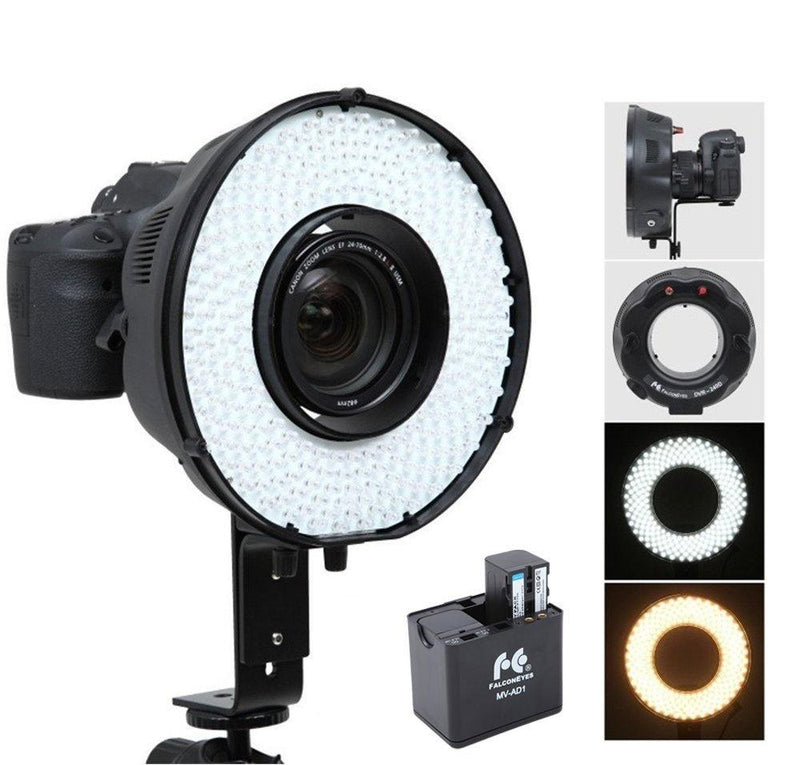 FalconEyes DVR-240DF Kit Dimmable 240 LED Ring Video Light 3200-6500K Adjustable - FOMITO.SHOP