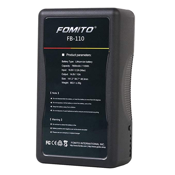Fomito DBK BP110 110Wh (7800mAh/14.8V) V Mount Battery & Charger for LED Light Sony Video Camcorder