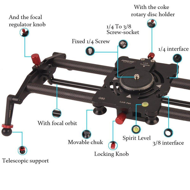 Fomito 32 Inch/ 80cm 8 Axises Carbon Fiber Follow Focus Track Dolly Slider - FOMITO.SHOP