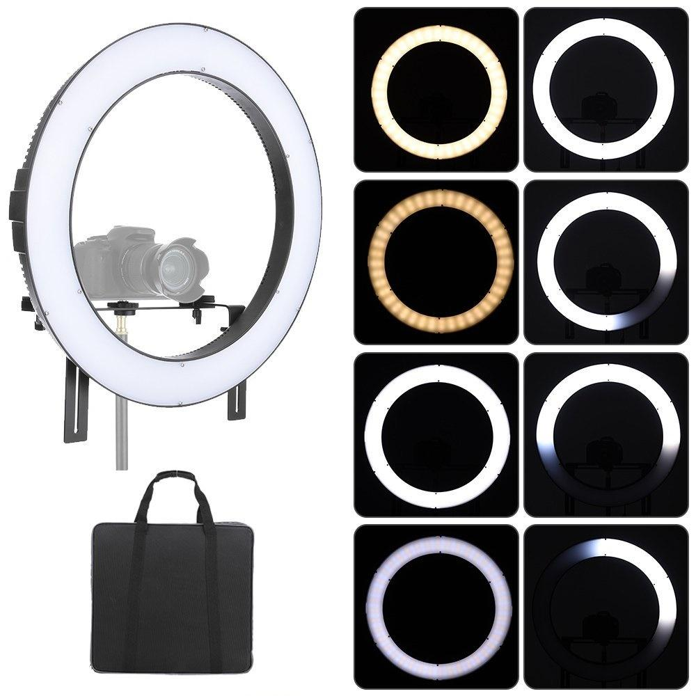 FalconEyes DVR-160TVC Photography Studio Video LED Ring Light 160pcs SMD Beads 3200K-5600K Bi-Color Fill-in Light Lamp - FOMITO.SHOP
