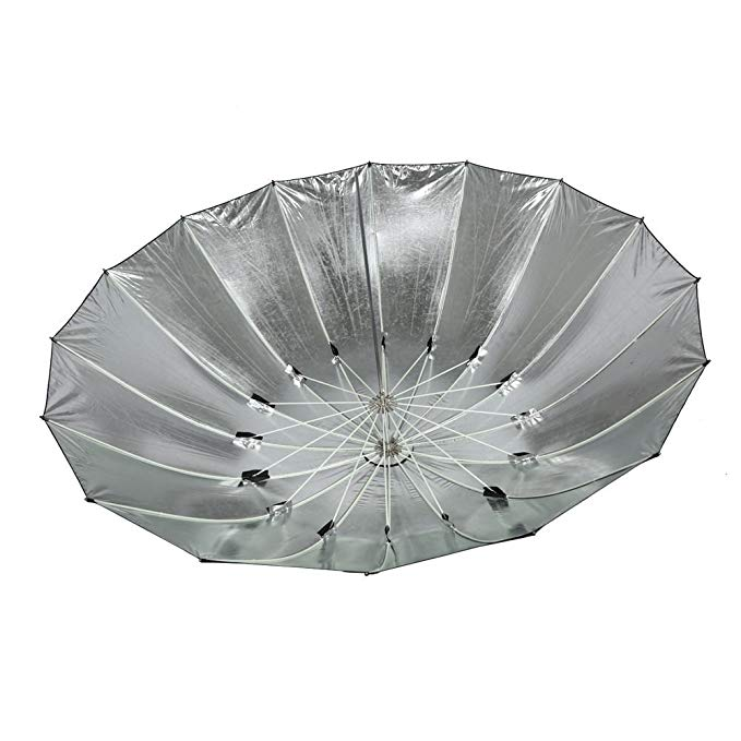 Fomito 7 feet Mega Parabolic Flash Reflector Umbrella Silver&black