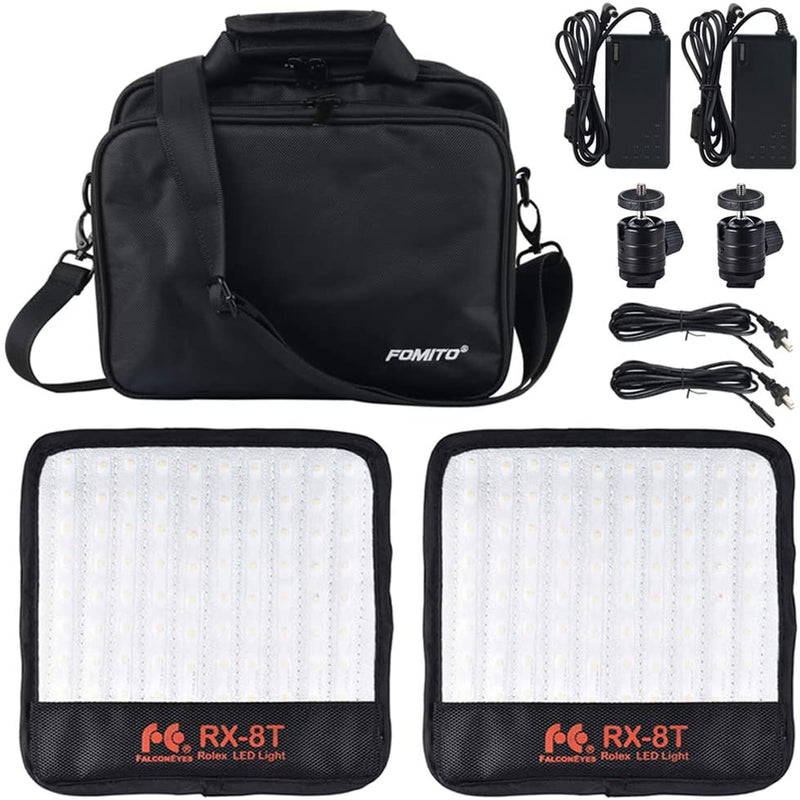 Falconeyes 2pcs RX-8T Foldable LED Light Kit Flexible Cloth On-Camera Lamp Daylight Splash-Proof