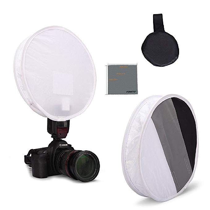 Fomito 31cm Flash Disc Portable Softbox & Grey/White/Black Card Board White Balance on DSLR Camera
