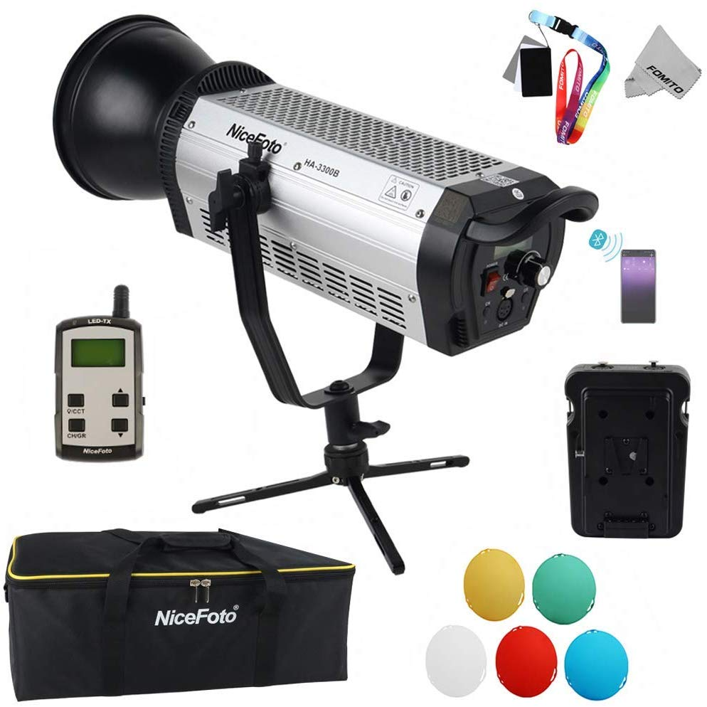NiceFoto HA-3300B 330W 5500K Daylight COB LED Video Light Kit with Bluetooth + 2.4G receiver