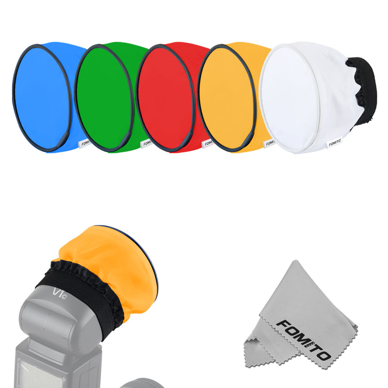 Fomito 5pcs Portable Round head Color Gel Diffusers for Godox V1 AD200 H200R V860ii flash
