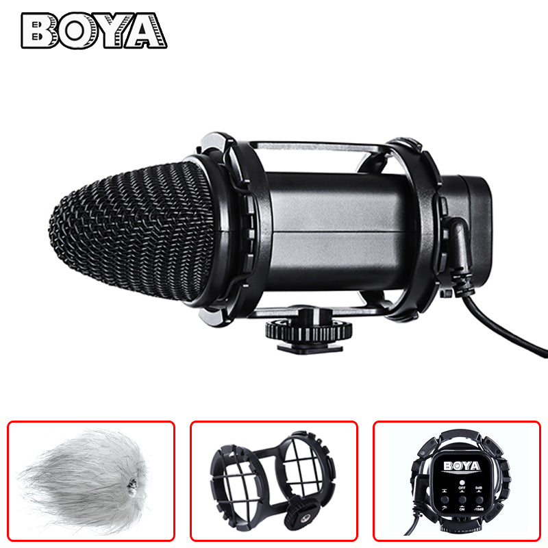 BOYA BY-V02 Stereo Condenser Microphone Stereo X/Y Condenser Broadcast sound quality for Canon Nikon Sony DSLR Cameras, Camcorder, Audio recorders