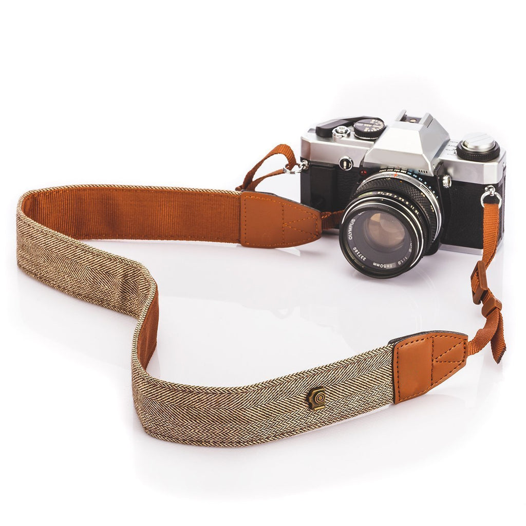 Fomito Camera Shoulder Neck Strap Vintage Belt for All DSLR Camera(Classic White and Brown Weave)