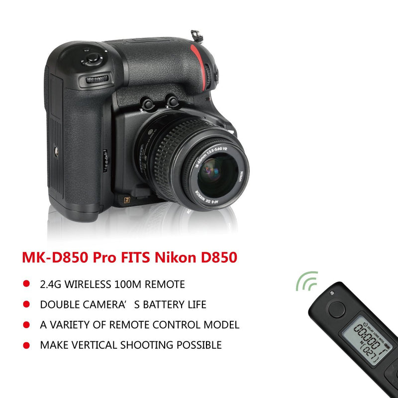 Meike MK-D850 Pro Vertical Shooting Power Pack Battery Grip with 2.4G Hz Wireless Remote Control for Nikon D850 Camera - FOMITO.SHOP