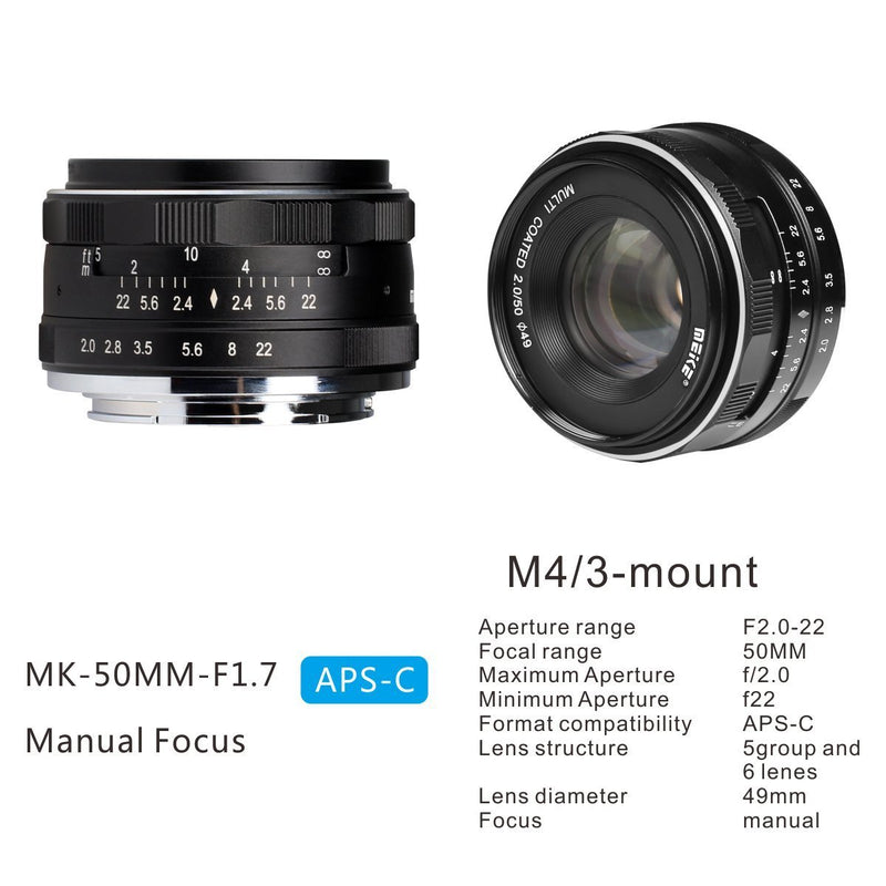Meike 50mm f/2.0 Manual Focus Fixed Lens for Olympus M43 Digital Cameras ( EM1,M,M10,EP5,EPL3,PL5,PL6,PL7,PEN-7 etc) - FOMITO.SHOP