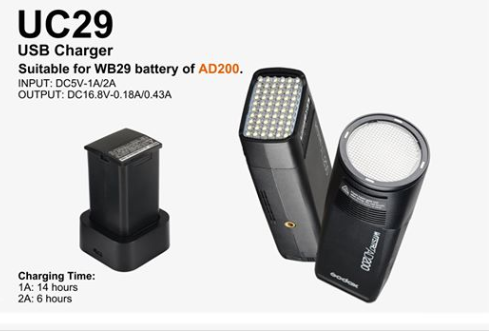 In stock!Godox UC29 USB Charger Suitable for WB29 Battery of AD200