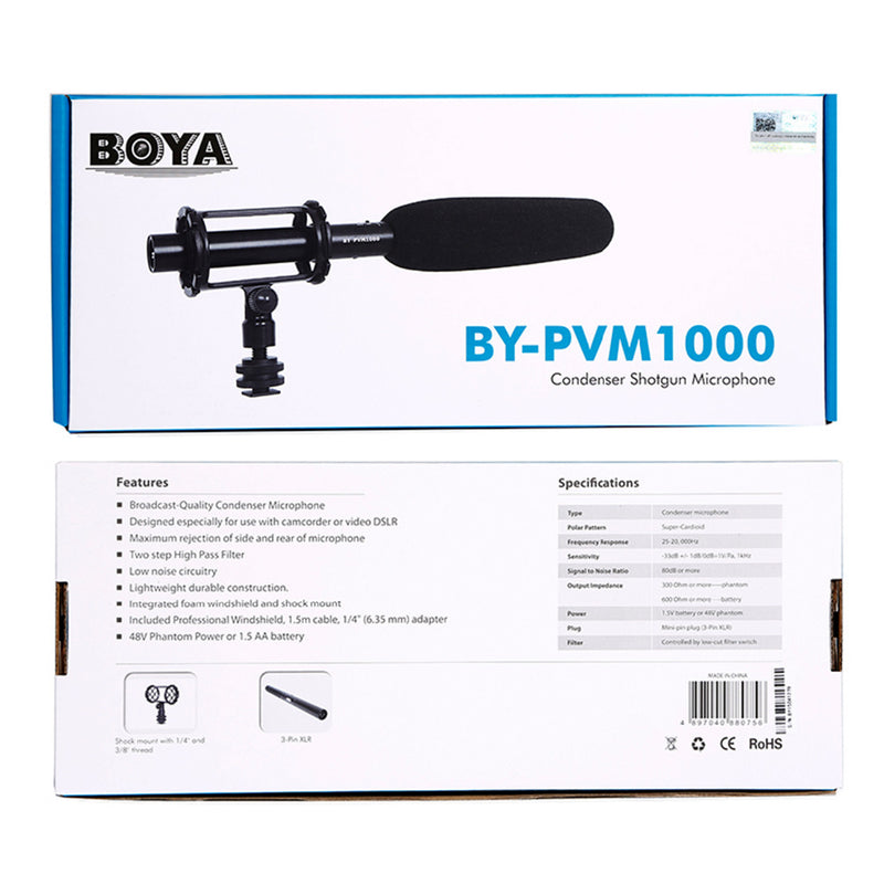 BOYA BY-PVM1000 Professional Shotgun Microphone for Camcorder Video Recording Mic or Video DSLR