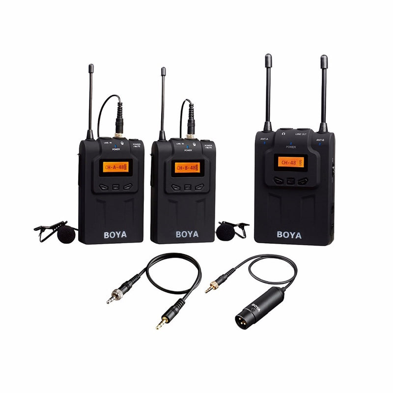 BOYA BY-WM8 Dual Channel UHF Wireless Microphone System with 48 Channels 6 Hours Continuous Running Time for Interviews