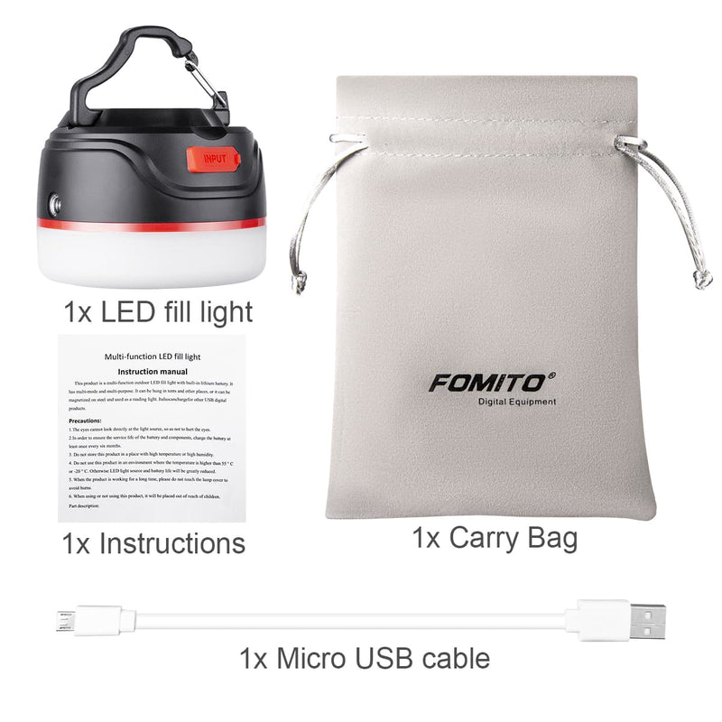 Fomito Mini IP65 Waterproof Tent Light Ultra Bright Rechargeable LED Light for Camping Fishing