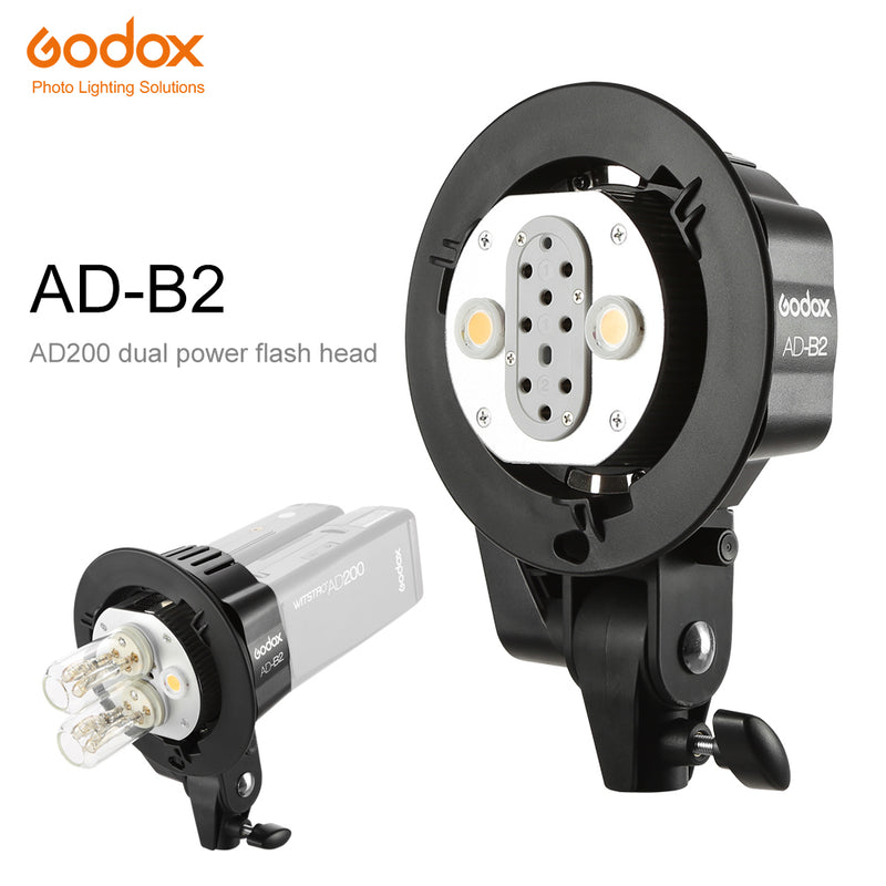 Godox AD-B2 Bowens Mount double tubes Light Head Bracket for AD200 Portable Flash Speedlite
