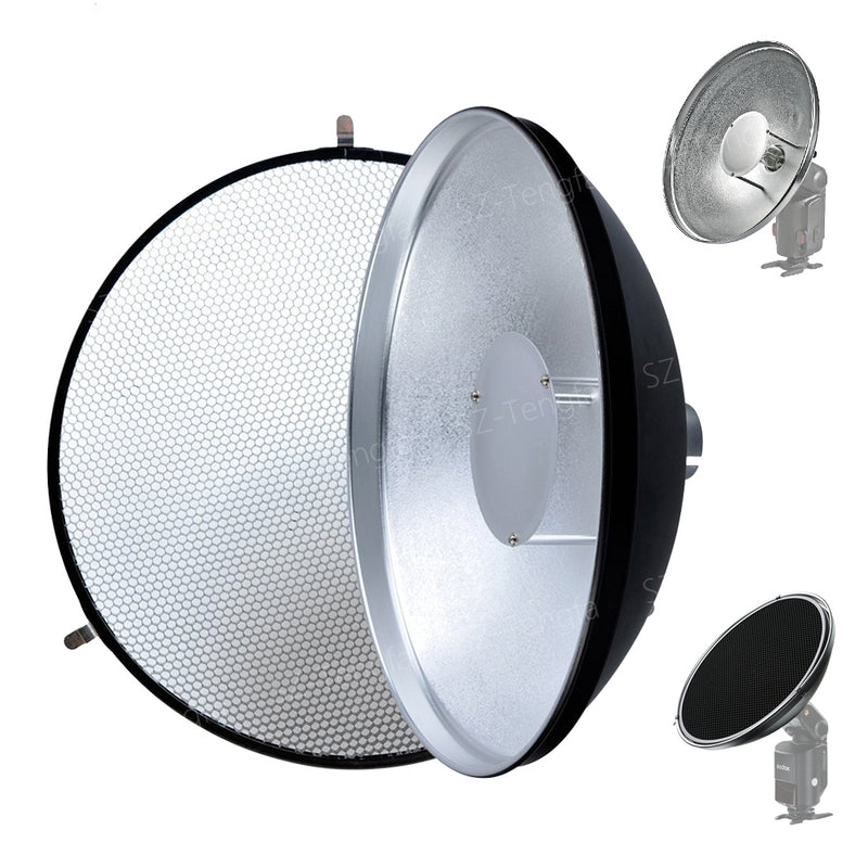 Godox Beauty Dish AD-S3 with Grid AD-S4 Flash Diffuser for WITSTRO Speedlite Flash AD180 AD360 AD200