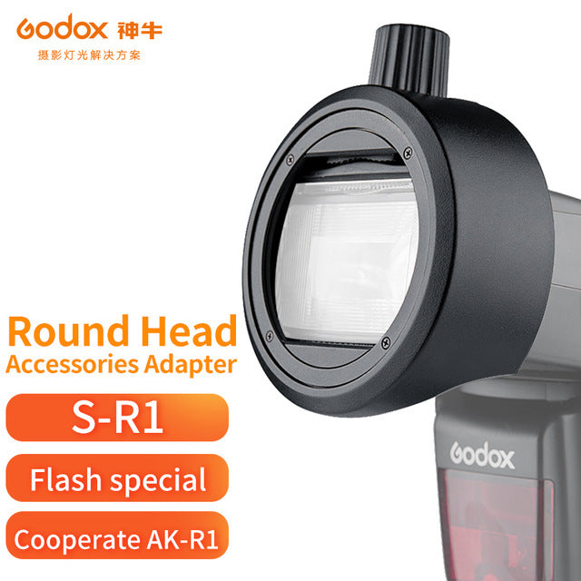 In stock!Godox Round Head Accessories Adapter sr 1 S-R1 Suit for V860II V850II TT685 TT600 Series insatll AK-R1 Accessories kit