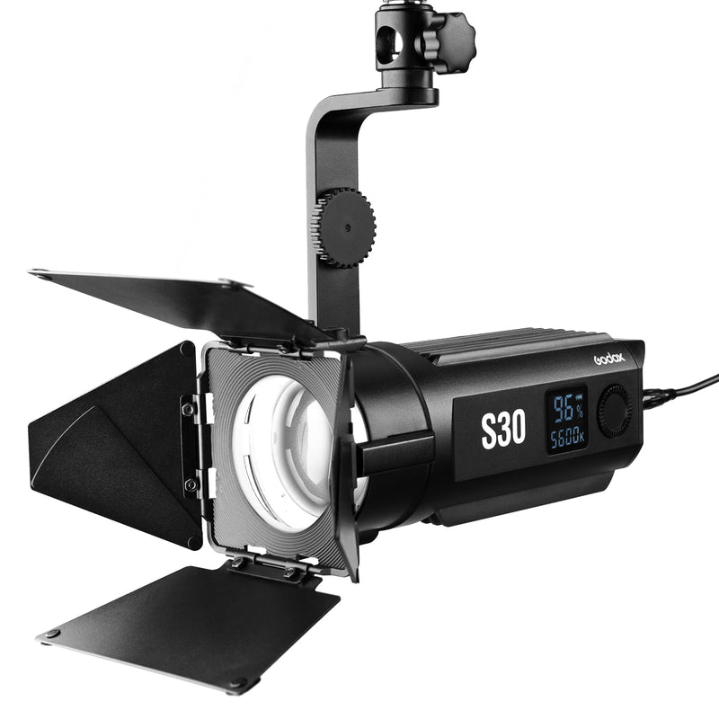 Godox S30 Fresnel Focusing LED Spotlight 30W with Barndoor