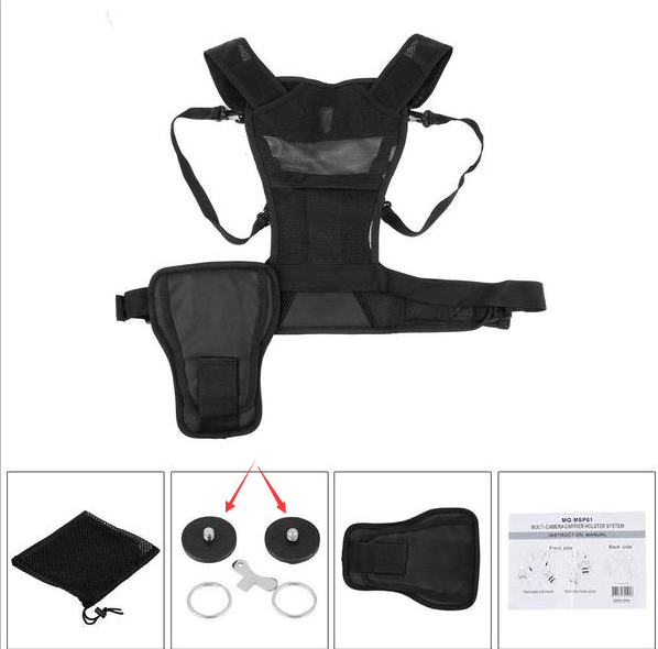 FOMITO MULTI CAMERA CARRYING CHEST HARNESS SYSTEM VEST WITH SIDE HOLSTER QUICK RELEASE SCREW