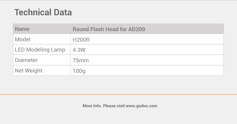 In Stock!Godox H200R Round Flash Head for AD200