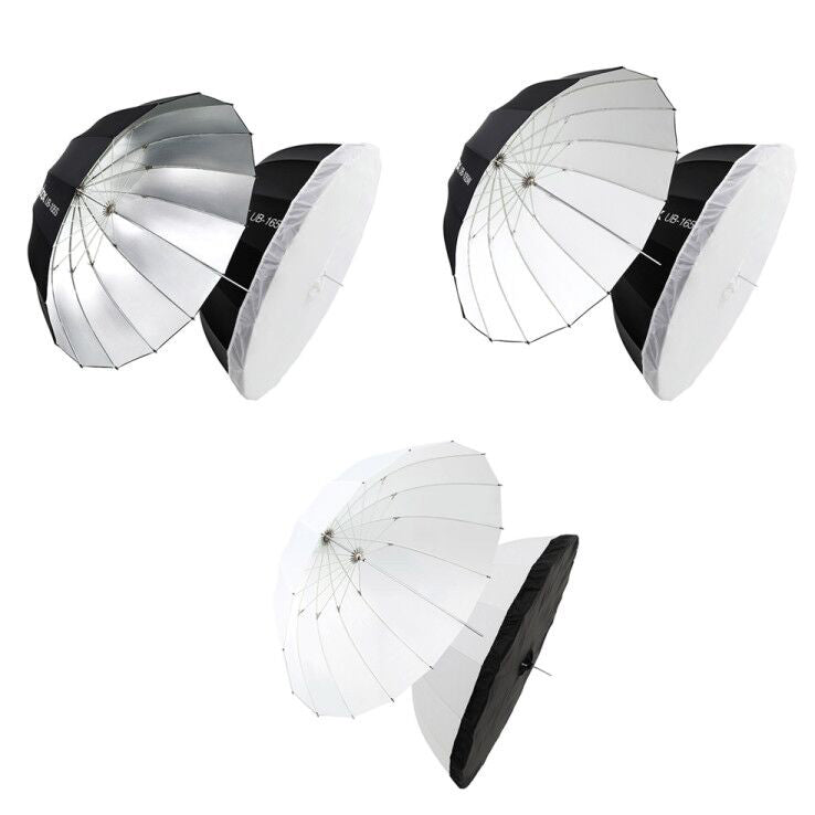 Godox Compact Portable Parabolic Umbrella Silver White Transparent with Carrying Bag Diffuser Cloth