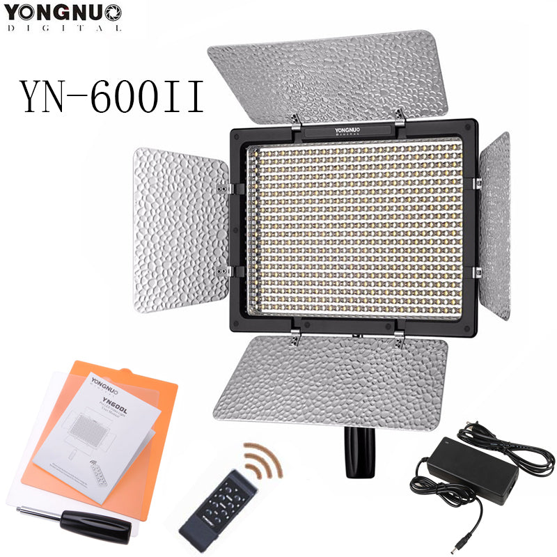YONGNUO YN600L II 5500K CRI 95 LED Light with 2.4G Wireless Remote Control 600 LED Video Light with AC Power Adapter for DSLR