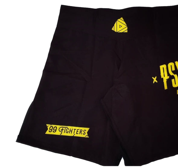 PSYCHOBRAND GRAPPLING/MMA SHORTS - BLACK&YELLOW