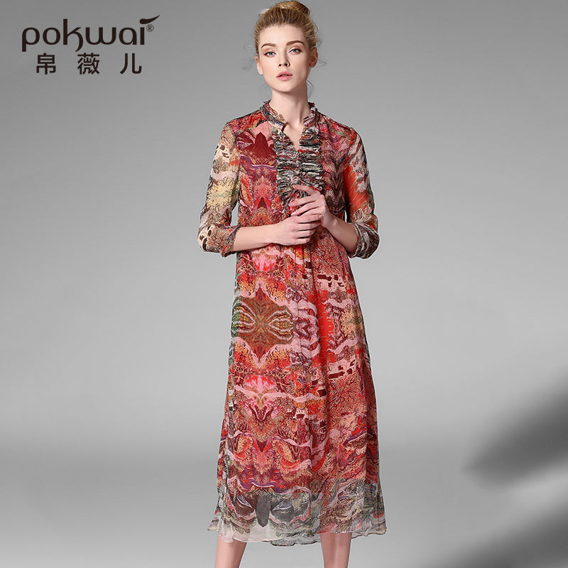POKWAI Elegant Long Vintage Summer Silk Dress Women New Arrival High  Quality Fashion Stand Collar Retro