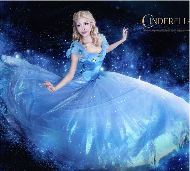 4028d8056 Hot movie cinderella dress adult princess cinderella costume halloween  costume for women Evening party long Blue