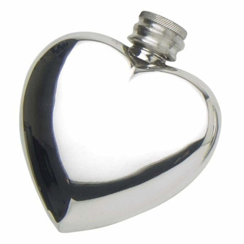 3Oz Contemporary Heart Shaped Pewter Pocket Flask Hip Flask 18 18Th 21 21St 3 Ounce Buyahipflask.com