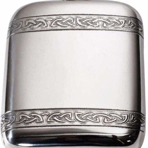 4Oz Premier Pewter Pocket Flask With Celtic Bands Hip Flask 4 Ounce 4Oz Anniversary Best-Man Birthday Buyahipflask.com