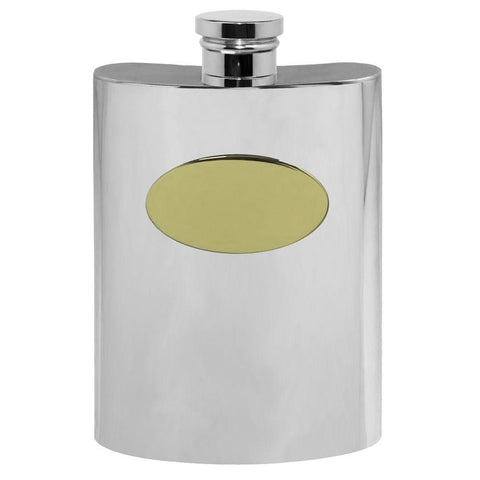 4oz Traditional Pewter Hip Flask With Brass Plate Hip Flask 4 ounce, 4oz, anniversary, best-man, birthday buyahipflask.com