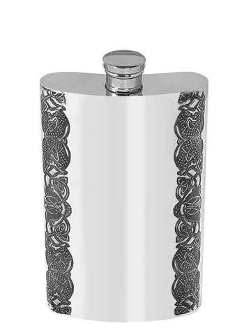 4oz Traditional Pewter Hip Flask With Celtic Edge Design Hip Flask 4 ounce, 4oz, anniversary, birthday, buyahipflask.com buyahipflask.com