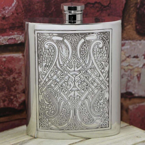4Oz Traditional Pewter Hip Flask With Celtic Knot Design Hip Flask 4 Ounce 4Oz 6Oz Anniversary Best-Man Buyahipflask.com
