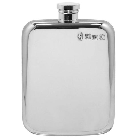 4oz Traditional Plain Stamped Pewter Pocket Flask Hip Flask 4 ounce, 4oz, anniversary, badge-bestseller, best-man buyahipflask.com