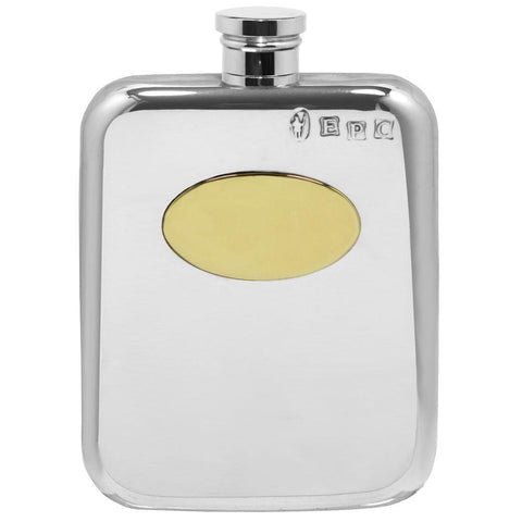 4oz Traditional Stamped Pewter Pocket Flask With Brass Plate Hip Flask 4 ounce, 4oz, anniversary, best-man, birthday buyahipflask.com