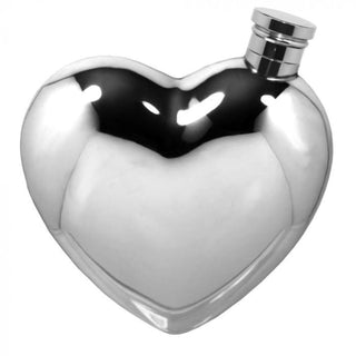 6oz Contemporary Heart Shaped Pewter Flask Hip Flask 18 18th 21 21st 3 ounce buyahipflask.com 6oz-classic-heart-shaped-pewter-flask Free