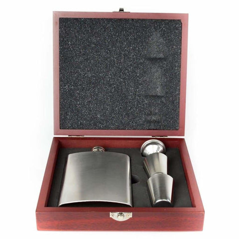 8Oz Contemporary Wood Stainless Steel Hip Flask Gift Set Hip Flask 8 Ounce 8Oz Anniversary Badge-Bestseller Best-Man Buyahipflask.com