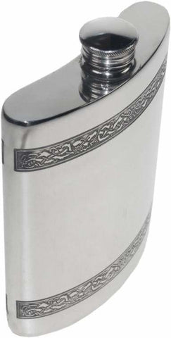6Oz Premier Pewter Hip Flask With Celtic Bands Hip Flask 6 Ounce 6Oz Anniversary Badge-Bestseller Best-Man Buyahipflask.com