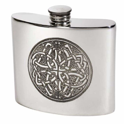 6Oz Premier Pewter Hip Flask With Celtic Circle Design Hip Flask 6 Ounce 6Oz Anniversary Birthday Buyahipflask.com Buyahipflask.com