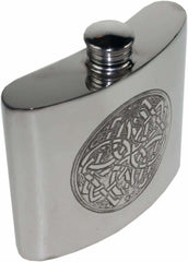 6oz Premier Pewter Hip Flask With Celtic Circle Design