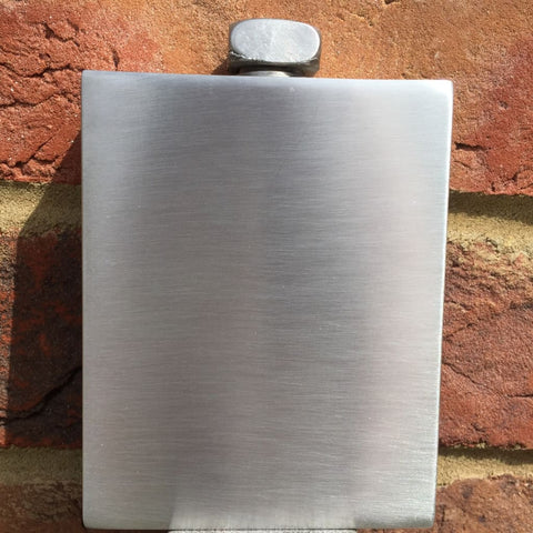 6oz Premier Pewter Hip Flask With Cubic Sateen Finish Hip Flask 6 ounce, 6oz, anniversary, badge-new, best-man buyahipflask.com